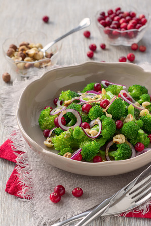 broccoli salad: Broccoli salad with fresh cranberries, nuts and mustard dressing