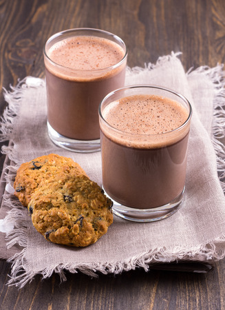Chocolate milk with diet oatmeal cookies Stock Photo