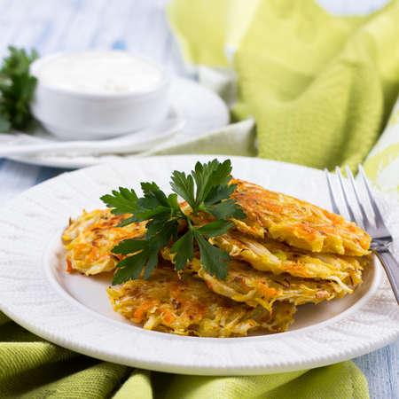 fritters: Vegetable fritters with cabbage and carrots