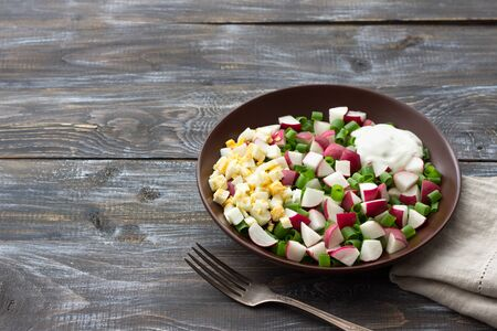 Fresh radish salad with green onions, boiled egg and sour cream on a wooden background, rustic style, free space. Delicious homemade food Zdjęcie Seryjne