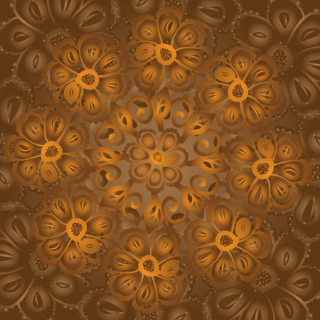 Vintage ethnic beige doodle flowers circle ornate background  Vector