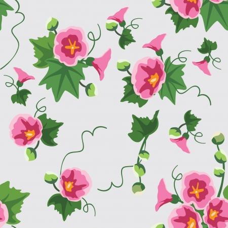 Seamless floral pattern, flower illustration  Elegant wallpaper with malva on background   Illustration
