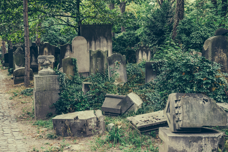 Historic Old Jewish cemetery in Wroclaw, Poland. Background for halloween design and text Stock Photo