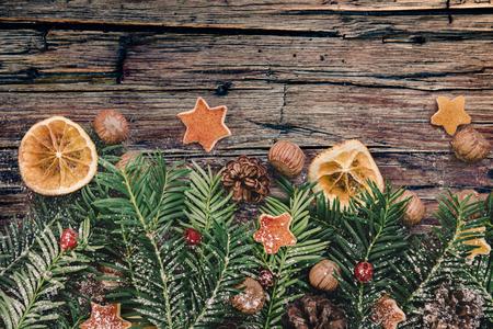 Christmas border design on the wooden background 免版税图像