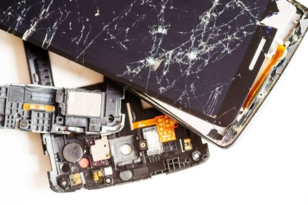 Broken phone that cannot be repaired isolated on white background