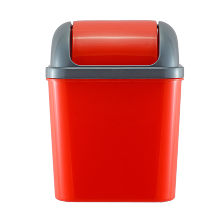 wastepaper: red plastic trash can on white background