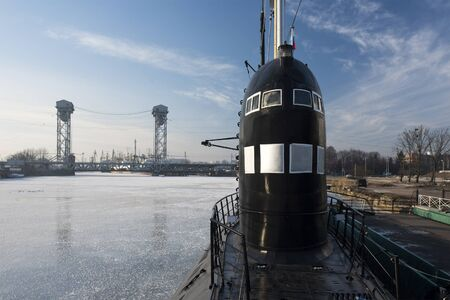 old ship: The submarine in Kaliningrad in the winter