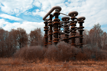 the thrown: The thrown rusty electrical unit of Nikola Tesla for experiments in Russia