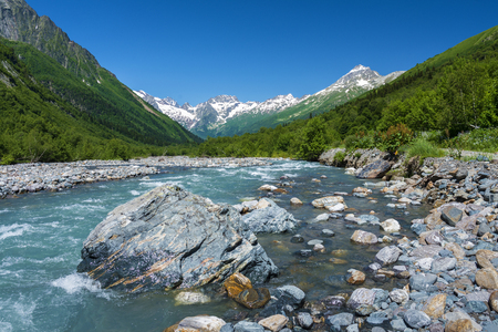 Mountain river in the Caucasus In the summer