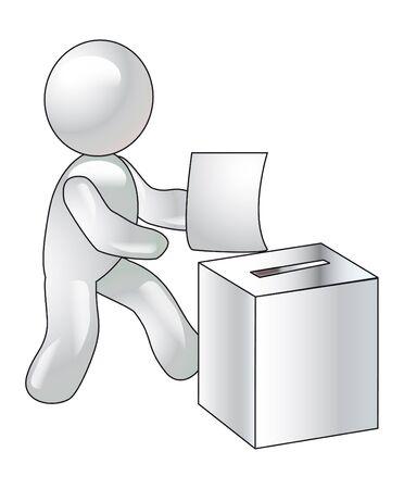 A manikin throws the bulletin into the urn