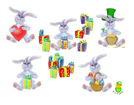 Collection of young rabbit-hare to the spring holidays: to the day of sainted Valentine, Patrick, to Easter on a white background Stock Photo - 4233813