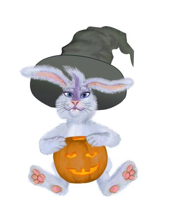 hallows': Rabbit in a masquerade suit on a holiday Hallows Evening Stock Photo