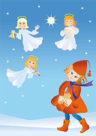 Girl with a gift in surroundings the angels of declare Christmas Stock Vector - 8208234