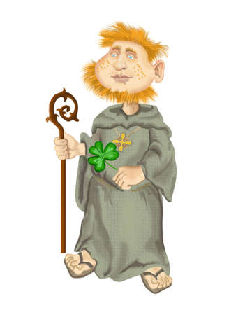 St Patrick with leaf of shamrock Stock Photo - 8208204