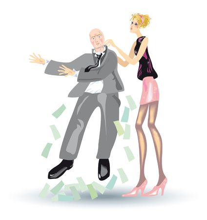 avidity: A girl shakes out a money from a promoter