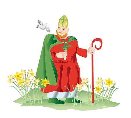 Sainted Devid(Dyui) in 1120 was canonized the Roman church as a high priest, christianizing celtic tribes. A leek became the emblem of glory of Wales, and the welshmen of 1th March mark St. David Day in honour victory of King.  Stock Photo