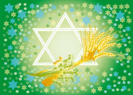 Shavuot marks the offensive of new season of year, completion of next agricultural cycle.  In antiquity in this day in Temple did the second bringing of wheat of new harvest. Stock Photo