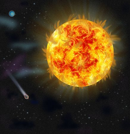 accumulations: Flash in the sunshine. Look from space. Stock Photo