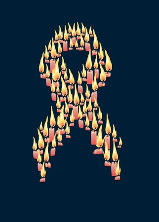 symbol of fight against a cancer and AIDS is made from conflagrant candles