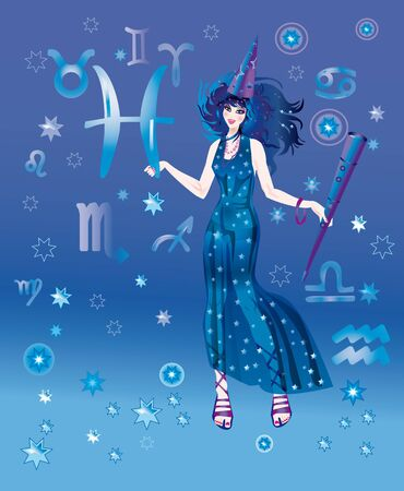 Girl in appearance an astrologer on a background the signs of zodiacs Stock Photo - 8341726