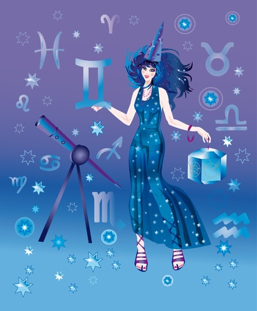 Girl in appearance an astrologer on a background the signs of zodiacs Stock Photo - 8341741