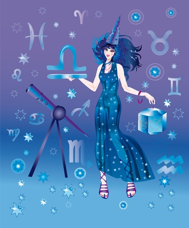 Girl in appearance an astrologer on a background the signs of zodiacs Stock Photo - 8341734