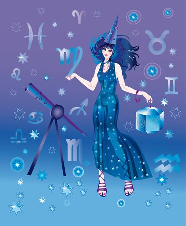 astrologer: Girl in appearance an astrologer on a background the signs of zodiacs Stock Photo