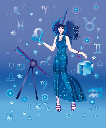 Girl in appearance an astrologer on a background the signs of zodiacs photo