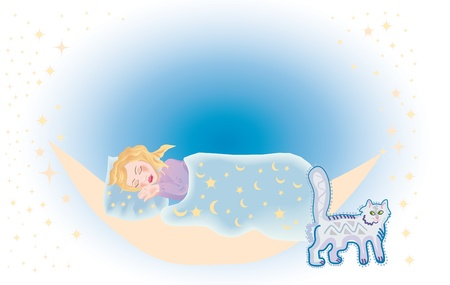 lullaby: a little girl sleeps under the lullaby of cat