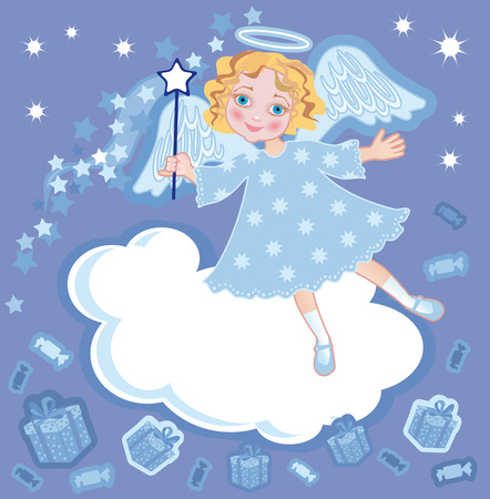 little girl in the suit of angel with a gift and magic stick Vector