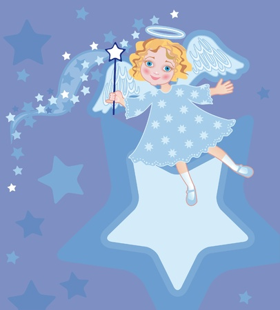little girl in the suit of angel with a magic stick