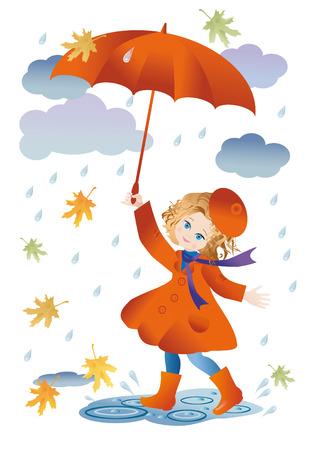 botas de lluvia: Una niña con un paraguas rojo que se va a dar un paseo en la lluvia