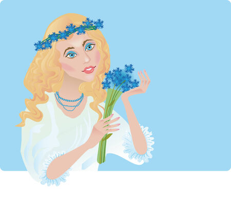 chaplet: a blue-eyed beautiful girl holds the bouquet of corn-flowers