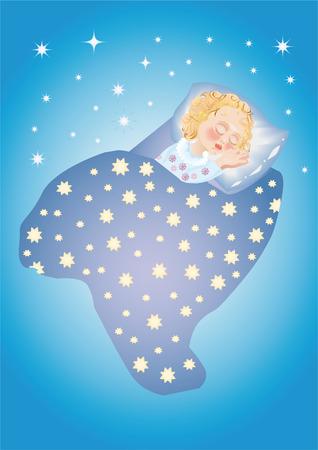 sweetly: A kid sweetly sleeps under stars Illustration