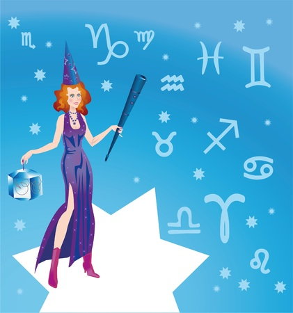 forecaster: Girl-astrologer with characters of signs of zodiac Stock Photo