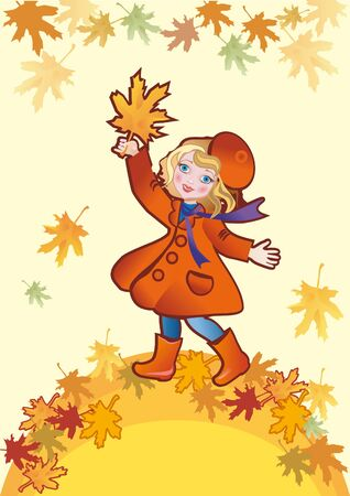 A little girl in a red overcoat goes for a walk in autumn Stock Photo - 8595227