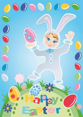 Child in the suit of the Easter rabbit with the Easter eggs Stock Photo - 8595235