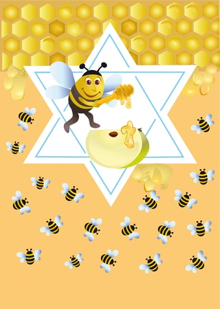 Facetious background with a bee for congratulating on the Jewish holiday Stock Photo - 8595221