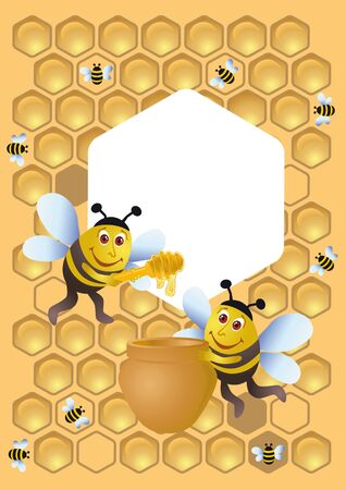 A group of bee and the honey pot photo