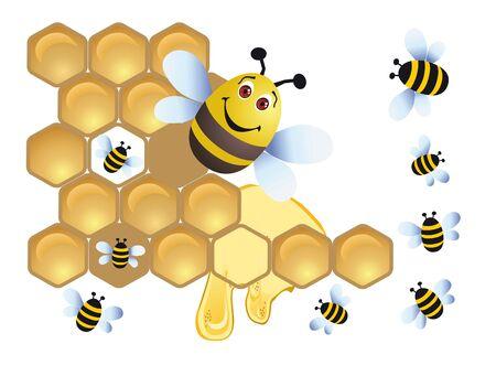 wesp: Bee op een achtergrond honing
