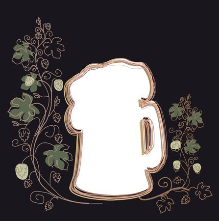 background for the menu of bar with glass of beer and hop Stock Photo - 8595239