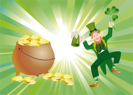 background to the holiday st patrick's day with the leaves of clover Stock Photo - 8595222
