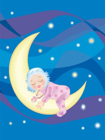 Illustration of baby girl sleeping on the moon
