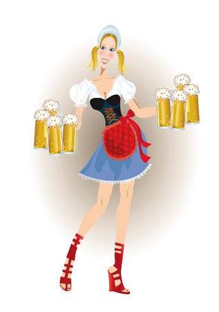 pigtail: Oktoberfest bavarian woman in traditional clothes with beer
