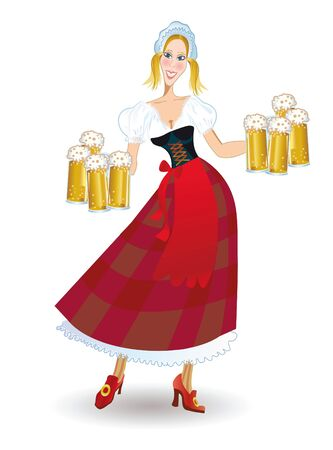 Oktoberfest bavarian woman in traditional clothes with beer photo