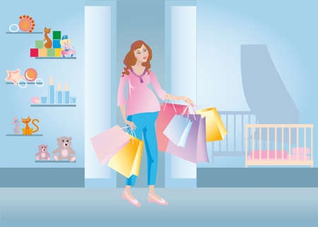 The pregnant goes out from child's shop Stock Photo - 9467308