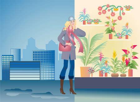 A girl-buyer chooses a floral flowerpot near a window photo