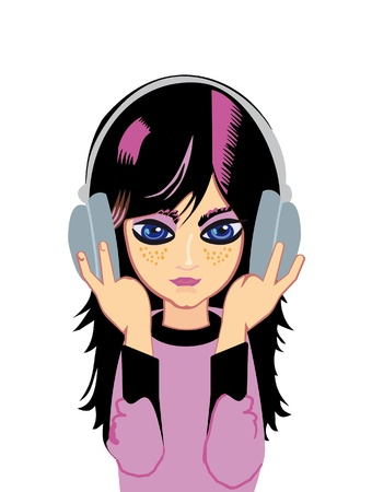 A Emo-girl listens music Stock Photo - 9467045