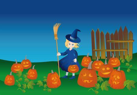 samhain: bruja poco con una linterna de calabaza y escoba en Halloween Foto de archivo