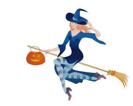 samhain: Hermosa mujer una bruja vuela en una escoba con una linterna de calabaza